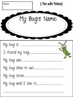 In preschool we are painting rocks to look like bugs. They could answer these questions and I fill it in, good way to find out what they are creating. 1st Grade Science, Kindergarten Science, Science Classroom, Classroom Decor, Bug Activities, Writing Activities, Spring Activities, Teaching Writing, Preschool Bug Theme