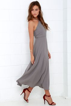 Calligraphy Class Grey Halter Midi Dress at Lulus.com!