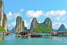 The calm, blue-green waters of Vietnam's Ha Long Bay.