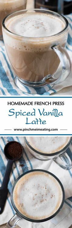 #ad This spiced vanilla latte with a hint of cardamom and cinnamon is a simple, sophisticated coffeehouse style drink you can make at home using your French press! #CoffeehouseBlend