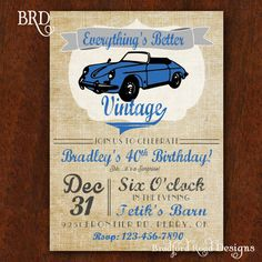 Vintage Car Birthday Invitation Everything's Better Vintage 5x7 Invitation Muscle Car 40th 50th 60th 70th Birthday