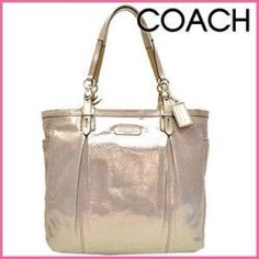Large Sunkissed Coach F16562 purse This coach is a dazzling bronze beautiful coach purse. This purse is Large enough to carry everything you need and more. Purse has side pockets, large back pocket, and 3 pockets located inside purse. Please review 1 additional listing and please ask for all pictures and questions before purchase, thank you. Coach Bags