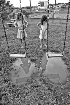Large row of swings that went so high you could almost touch the sky! Then you would bail out . Had to watch for puddles under the swings.  Elementary school late 1950's