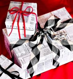 Recycled wrap       Use newspapers to wrap packages, then mix black, white and red ribbons for stylish bows.