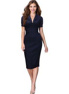 613d09e411 V-neck navy bodycon dress