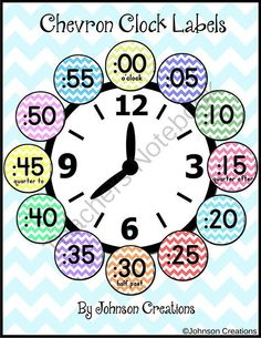 Chevron Clock Labels from Johnson Creations on TeachersNotebook.com (4 pages)  - Attach these adorable chevron clock labels to the edge of your classroom clock to help your students learn how to tell time.