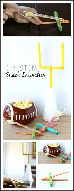 DIY STEM Snack Launcher for Game Day - Raising Whasians | Football inspired kids craft, activity, and snack (AD)
