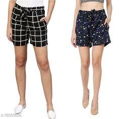 Shorts My Swag Women Combo Of 2  Regular Shorts Fabric: Crepe Pattern: Printed Multipack: 2 Sizes:  28 (Waist Size: 28 in Length Size: 25 in)  30 (Waist Size: 30 in Length Size: 25 in)  32 (Waist Size: 32 in Length Size: 25 in)  34 (Waist Size: 34 in Length Size: 25 in)  36 (Waist Size: 36 in Length Size: 25 in)  38 (Waist Size: 38 in Length Size: 25 in) Country of Origin: India Sizes Available: 24, 26, 28, 30, 32, 34, 36, 38, 40, 42   Catalog Rating: ★3.9 (2333)  Catalog Name: Ravishing Fabulous Women Shorts CatalogID_1291853 C79-SC1038 Code: 492-18553836-786