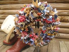 Fabric Wreath Rag Wreath Rodeo Wreath by AWorkofHeartSA on Etsy, $60.00...I love the rodeo so it may be worthy of a party :)