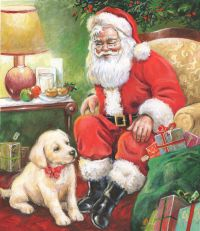seated santa pup.jpg | Jim Mitchell | Representing leading artists who produce children's and decorative work to commission or license. | Advocate-Art