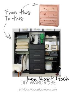 If I didn't just redo our closet from clearance organizers, I'd be doing this! Cost is around the same, but this is solid pine, vs fiberboard! Amazing Ikea Rast Hack into DIY Wardrobe!