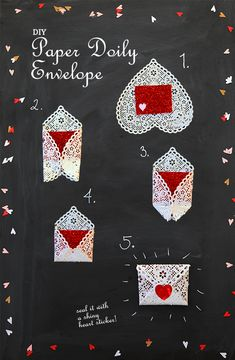 valentines day craft DIY paper doily envelope