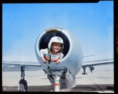 """c.1947 by Leslie Jones, location unknown, USA Caption reads, """"Kid climbs into US Air Force jet engine"""""""