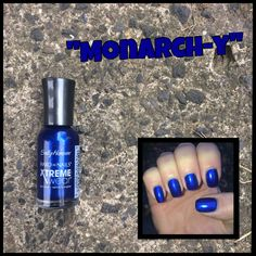 Sally Hansen Hard As Nails Xtreme Wear: Monarch-y Sally Hansen Nails, Nail Polish Collection, Nail Polishes, Blue Nails, Red Bull, Swatch, Blues, How To Wear, Beautiful