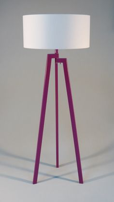 Handmade Tripod Floor lamp, unique wooden stand colored in purple, drum lampshade, different colors lampshade $174