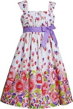 Big Girls Tween 7-16 Purple Ruched Bodice to Multi Floral Border Print Dress (16, Purple)