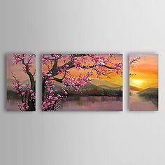 óleo pintada a mano de pintura de flores del ciruelo florales conjunto de 3 con el marco estirado de 1307-fl0156 - USD $ 89.99