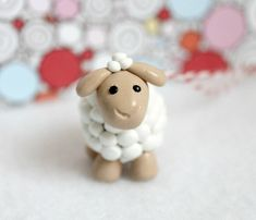 Cute Lamb Christmas Ornament - Polymer Clay Sheep Ornament, Barnyard Animal, Childs Ornament