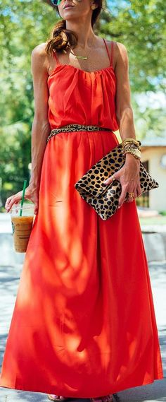 Asos Tangerine Swing Spaghetti Strap Maxi Cami Dress by Sequins