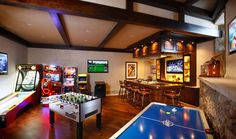 Game room decor, game room bar, game room basement, room setup, man c Game Room Bar, Game Room Decor, Room Setup, Home Entertainment, Garage Game Rooms, Game Room Basement, Basement Ideas, Basement Remodeling, Basement Designs