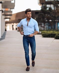 5 Simple Shirt Outfits For Men - Shirt Casuals - Ideas of Shirt Casual - 5 Simple shirt outfits for men. Blue Shirt Outfits, Hipster Style Outfits, Business Casual Outfits, Hipster Fashion, Style Fashion, Fashion Outfits, Formal Men Outfit, Casual Wear For Men, Casual Shirts For Men
