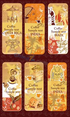 Retro coffee banner vector material download