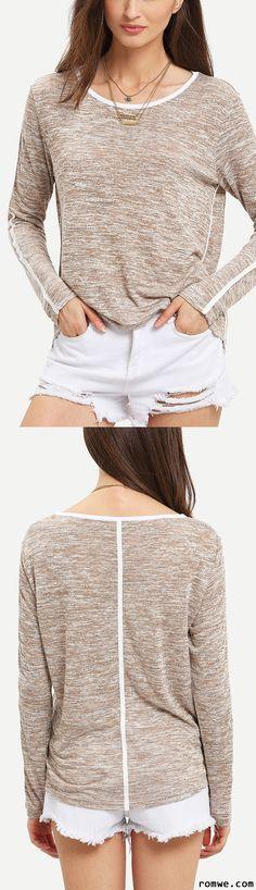 Grey Round Neck Long Sleeve Loose T-Shirt