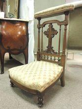 19th Century French Antique Walnut Prayer Chair