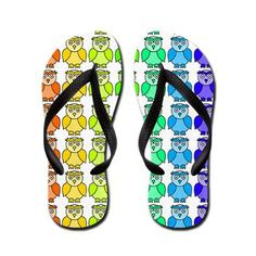 Rainbow Owl Pattern FlipFlops