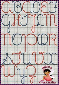 Letras Cross Stitch Alphabet Patterns, Cross Stitch Letters, Stitch Patterns, Loom Beading, Beading Patterns, Cross Stitching, Cross Stitch Embroidery, Plastic Canvas Letters, Crochet Letters