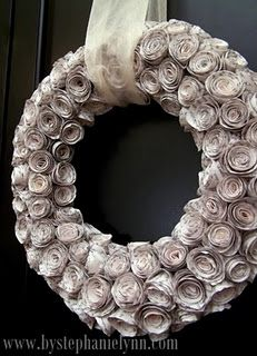 Rose wreath from old book pages