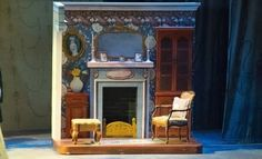 But d - Parlor roller. But don't need fireplace on it just furniture. This is a way to also do the kitchen pieces. Mary Poppins Musical, Mary Poppins Theatre, Theatre Design, Stage Design, Set Design, Fireplace Set, Music Theater, Kids Theatre, Property Design