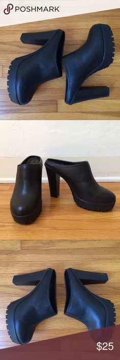 """Forever 21 black faux leather mule heels Forever 21 mule heels in very good condition, only worn once. Heel height is 4.5"""".               Tags: Steve Madden, Zara, H&M, Aldo, Jeffrey Campbell, Dolce Vida Steve Madden Shoes Mules & Clogs"""