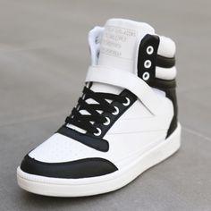 Korean's Fashion | Korean Sneakers | Women's Sneakers | Trendy Sneakers - Korean High-Back Platform Wedge Sneakers -  B&W - Gangnam Styles -