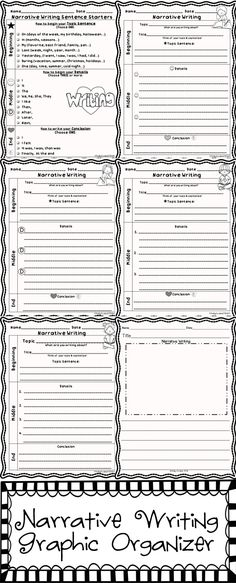 "This set of differentiated graphic organizers will help your students meet the common core standards for narrative writing. These can be used for any topic/theme and include a publishing template. The first graphic organizer has allowed my little first graders to ""break the code"" to writing a narrative. I'm sure it will help your little writers too!"