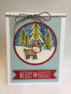 Lawn Fawn Toboggan Together, Let's Bokeh in the Snow card stock /// Papertrey Ink Tinsel and Tags stamps & dies for background layers,