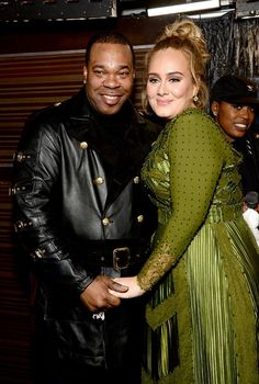 Adele and Busta Rhymes (Photo by Michael Kovac/WireImage)  2017 Grammy Awards
