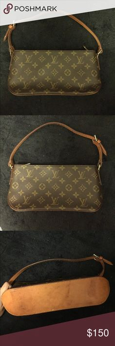 Small Louis Vuitton Hang Bag Small authentic LV bag in good condition. Strap is a little worn out but is still decent. If you have any concerns or questions feel free to message me! Louis Vuitton Bags Mini Bags