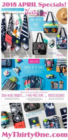 #31 Hostess and Customer Specials for APRIL 2018... Thirty-One offers fashionable beach towels and the new Sand N' Shore Thermal Tote as part of the special. Also in April... Global Inspired styles and Baby by Thirty-One with a new collection of functional diaper bags and nursery essentials. Hostesses can get up to 3 discounted items from the Summer Essentials Guide with a qualifying party. Check it out at MyThirtyOne.com/PiaDavis starting April 2nd.