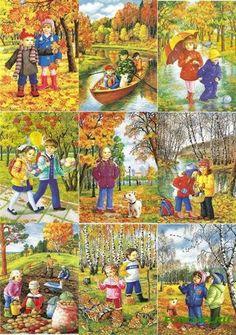 Времена года. Осень » Челябинский Дошкольный Preschool Education, Preschool Art, Autumn Crafts, Autumn Art, Drawing For Kids, Art For Kids, Four Seasons Art, Picture Comprehension, Picture Writing Prompts