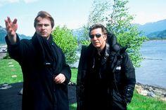 Christopher Nolan and Al Pacino on set of Insomnia Best American Actors, Christoper Nolan, Chris Nolan, The Cooler Movie, Call Me Al, Thomas Anderson, Fritz Lang, Jean Luc Godard, Al Pacino