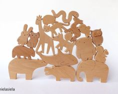 Special offer Set of 35 wooden animals Wooden toy от mielasiela