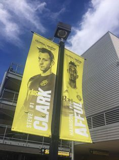 Graphics for Columbus Crew SC light pole banners. Signage Design, Brochure Design, Banner Design, Exhibition Banners, Rollup Design, Pole Banners, Street Banners, Office Wall Design, Sports Advertising