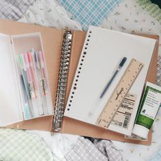 "workhardlikegranger: "" 04 January 2016 // Stationery + Misc. • Muji Gel Ink Pens 0.38 + 0.5 • Muji A5 Ring Binder • Muji A5 5mm Loose Leaf Paper • Study Mate Wooden Ruler 15cm • Korres Guava Body Butter """