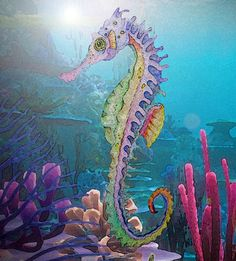 Under the Sea Seahorse Watercolor print by SelectYourself on Etsy, $25.00