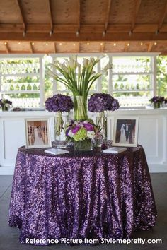 Magic Price Wholesale Purple Sequin Tablecloth Round Shiny Table Fabric for Wedding/Party/Banquet Decoration Table, Reception Decorations, Wedding Centerpieces, Wedding Table, Our Wedding, Dream Wedding, Purple Wedding Decorations, Tall Centerpiece, Trendy Wedding
