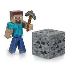 Buy Minecraft Steve Action Figure at Mighty Ape Australia. Take your adventures in the popular Minecraft video game from the digital to the real world! This Series 1 Minecraft Core Steve Action Figure with Acc. Steve Minecraft, Minecraft Toys, Minecraft Video Games, How To Play Minecraft, Minecraft Party, Minecraft Cake, Minecraft Stuff, Toys R Us, New Toys