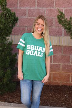 Squad goals jersey t-shirt. Grab your squad and roll out in these trendy, super soft jersey tees! True to size. 50% cotton 50% polyester. ALL CLEARANCE ITEMS ARE FINAL SALE.