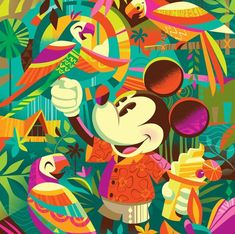 Here we see Mickey Mouse eating a Dole whip and hanging out with the Enchanted Tiki Room birds. It just doesn't get any more Disney-tiki than this. Design by Disney Pixar, Disney Magic, Disney Mickey, Mickey Mouse, Walt Disney, Disney Parks, Disney Artwork, Disney Drawings, Tiki Art