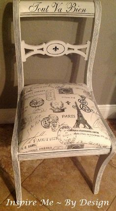 """The French phrase """"Tout Va Bien""""  means """"all is well"""" or """"everything is going well"""" and it is!  This chair was in 3 pieces when I loaded it in the trunk and I had a lot of fun restoring and restyling it to the adorable chair it is now."""